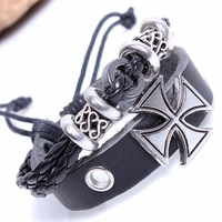 Min.order is $10(mix order)free shipping 2013 new jewelry european style fashion cross chain male handmade pink bracelet leather
