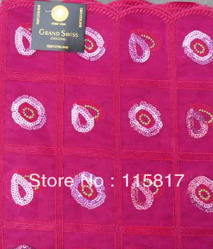 Free shipping to USA and CANADA! High quality african headtie with sequins 0121 fushia(China (Mainland))