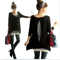 Spring maternity clothing stripe twinset V-neck cutout all-match sweater maternity shirt