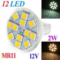 2W MR11 GU4 120-144LM LED Bulb Lamp 12 SMD 5050 Warm White / White LED Lamp Spotlight free shipping