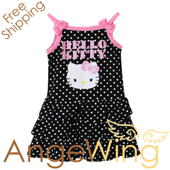In Stock wholesale 2012 dress newest baby girls HELLO KITTY polka dot strap knee-length summer dresses free shipping