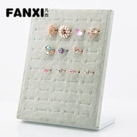 Free Shipping 2013 New Velvet Vertical Ring Display Pad Easel Jewelry Storage Holds 50 Pieces