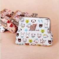 Sale Brand Cartoon Animals Dog Cat Rabbit print Canvas Metal button Coin Purses/Wallet Small Special walletsBeige/Pink Wholesale
