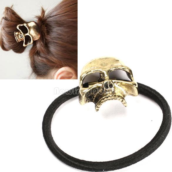 Punk Style Bronze Metal Skull Head Hair Rope Band Elastic Pony Tail Holder NI5L(China (Mainland))