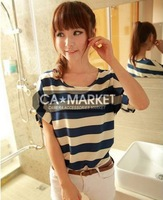Hot sale Short Sleeve O Neck stripe Blouse fashion shirts for women 2013 summer free shipping
