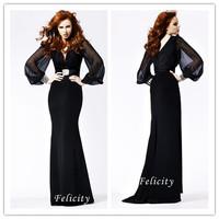 Free Shipping Elegant Black Chiffon Deep V-Neck Shiny Fishtail Long Sleeves Floor Length Arabic Evening Dress With Beads