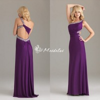 2013 Fashion Purple Chiffon one shoulder dress Backless Sexy Evening Prom Gown