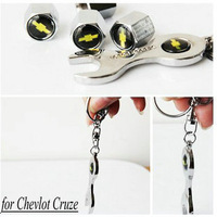 Free Shipping 5pcs/set Tire Valve Stem Emblem Caps for Chevrolet Chevlot Cruze Car Logo Tire Valve Caps With Wrench Key Chain