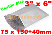 """GOOD BULK PRICE 100 Poly Bubble Mailers Padded Envelopes Bags 75 x 150+40mm_3"""" x 6""""+1.6""""_USABLE SIZE"""