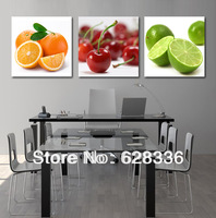 Frame 3 Piece Free Shipping Wall Painting Fruits Lemons Oranges Cherries Home Decorative Oil Painting Picture Printed On Canvas