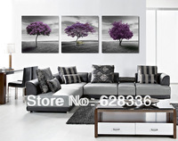 Framework Frame 3 Piece Free Shipping Wall Painting Modern Purple Tree Home Decorative Oil Painting Picture Printed On Canvas