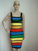 free shipping rainbow spaghetti strap off the shoulder sleeveless party evening dress