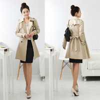 Free shipping 2014 new Spring trench Trench Coat 2 colors women's trench Outwear Black Beige windbreaker women were coat,B734