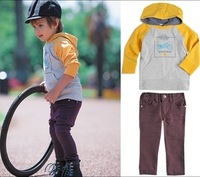 male child autumn casual with a hood sweatshirt twinset baby boy set ,5sets/lot free shipping