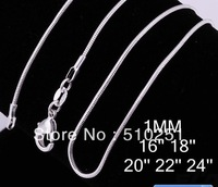 SC009 Silver Plated 1MM Snake Chain For Pendant , Free shipping, Hellomiss Promote Fashion Necklace