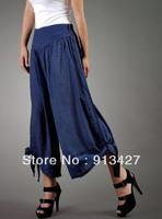 2014 Ladies' Fashion Wide Leg Pants Culottes Women's Tencel Cotton Loose Trousers Plus Size Pants/Capris Bow Pants S/M/L/XL/XXL
