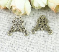 Free shipping Retro Antique Bronze Tone Pendant Alloy Charms Hollow Flower Connector Jewelry DIY 21*20MM