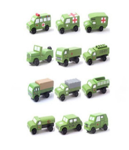 Free Shipping Wooden movable model cars Toy car All kinds of wooden toy car model A total of 12 wooden toy car model(China (Mainland))