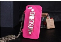 1pcs/lot New Arrival Metal Milan 3D deluxe case of silicon case cover for  iphone 4 4S 5 case  retail packaging free shipping