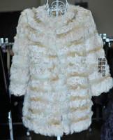 Berber fleece women's japanese style roll red fox fur wool outerwear