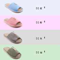 free shipping Natural linen lovers design home slippers