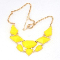 2013 New Arrival Hot Gold Plated Elegant Zinc Alloy Bohemian Yellow Resin Bubble Statement Necklace,High Quality,Free Shipping