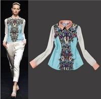 CL508 European style Famous brand Printed blouse OL chiffon shirt Spring Summer fall women lady free Drop shipping