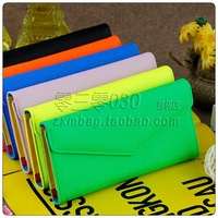 2013 envelope wallet female small neon color wallet female candy color women's multi card holder wallet leather