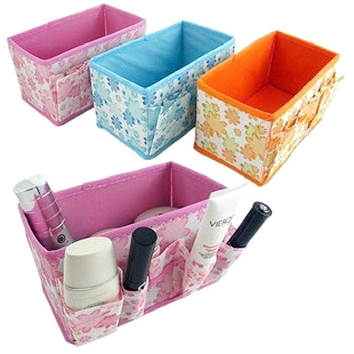 Free shipping,Retail Folding Cosmetics Storage Box Desktop Storage Box ,Desk collection box,3pcs/lot(random color and design)(China (Mainland))