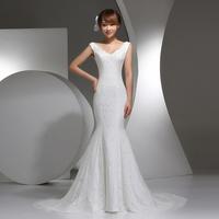 On Sale New Spring 2014 Deep V-neck Double-shoulder Slit Neckline Fish Tail Wedding dress Slim Thin bridal Lace Up dresses
