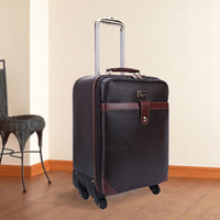 Male commercial travel trolley luggage PU wear-resistant leather 16 18