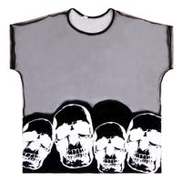 free shipping Personalized HARAJUKU punk personality skull pattern gauze translucent t-shirt