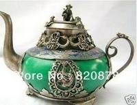 old tibet silver jade teapot