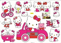 Free shipping  Kids/Baby Favorite Room Decoration Cute Hellokitty Paper /stickers Hello kitty  Wall Sticker 10pcs/lot