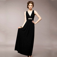 HOT 2013 New Arrival Fashion Women Long Evening Dress Chiffon Sleeveless Elegant Style Black Free Shipping Wholesale&Retail