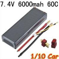 Register free shipping 7.4V 6000mAh 60C 2S RC LiPo Battery Hard Case for 1/10 RC Car Traxxas Tamiya + T plug