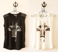 Women Punk Rivets Wolf Cross Printed Sleeveless Tank Vest Top T Shirt Blouse