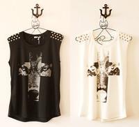 Women Punk Rivets Wolf Cross Printed Sleeveless Tank Vest Top T Shirt Blouse