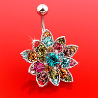 Free Shipping 2013 hot Button Barbell Bar Belly Body Piercing Flower Navel Rings 1Pcs