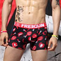 Free shipping Male freegun print panties trunk sexy mid waist cartoon male panties