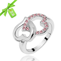Fashion romantic heart to heart finger ring girls romantic pinky ring small accessories