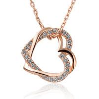 Jas accessories fashion spirally-wound full rhinestone double heart necklace brief necklace gift little secret