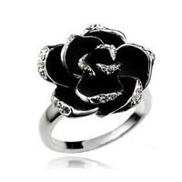 Finger ring luxury fashion quality black rose ring female finger ring