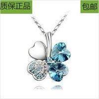 Gift hot-selling austria crystal four leaf clover necklace female short design