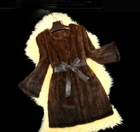 New Arrive  Real  Kintted Mink Fur Coat Womens Thicken Jacket  Plus size Parka With Lamb Leather belt Free Shipping