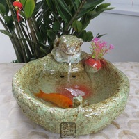 Frog fish tank kiln ceramic fountain home decoration gift