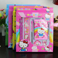 Hello kitty Stationery set 2 Pencil+sharpener+rubber+ruler+pen High quality,Lovely school stationery wholesale