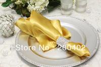 free shipping gold  plain satin napkin wedding/napkins