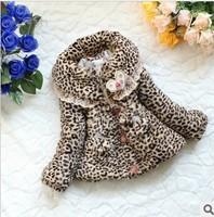 Wholesale 3 pcs children spring winter warm leopard fur jackets baby girls coat outerwear free shipping CC0249