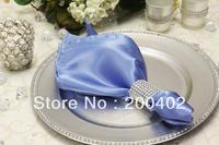 free shipping light blue  plain satin napkin for wedding and banquet /napkins
